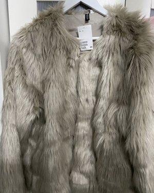 H&M Veste en fourrure beige clair-blanc cassé