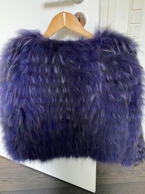 Chaqueta de piel violeta oscuro-azul oscuro