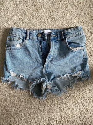 Kurze Fransen Jeans Shorts Zara