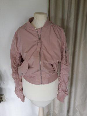 Kurze geraffte Bomberjacke Altrosa Rosé Rosa cropped Blouson Collegejacke Übergangsjacke