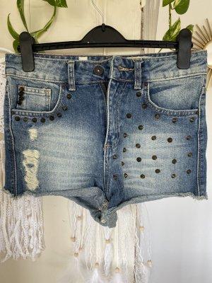 Pull & Bear Pantalón corto de talle alto azul celeste-azul aciano