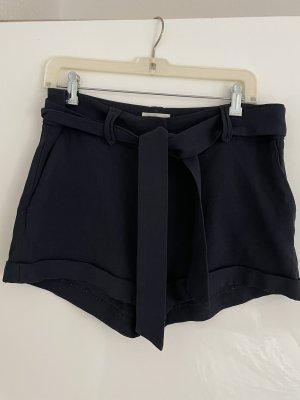 Sezane Pantalón corto azul oscuro acetato