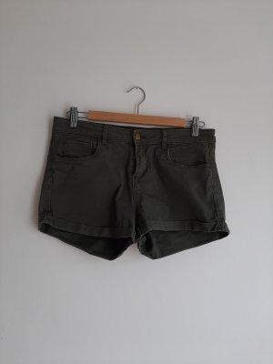 H&M Basic Jeansowe szorty zielono-szary-khaki