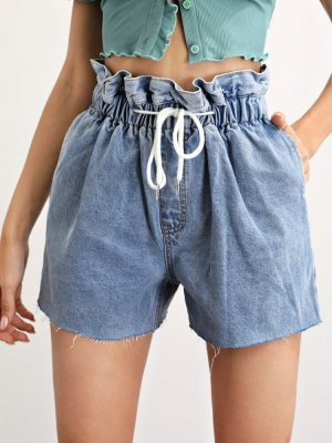 SheIn Pantalón corto de tela vaquera azul aciano Algodón