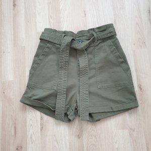 Primark Short taille haute kaki coton