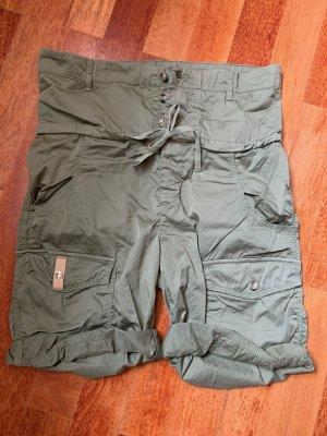 Trussardi Jeans Pantaloncino a vita alta verde oliva Cotone