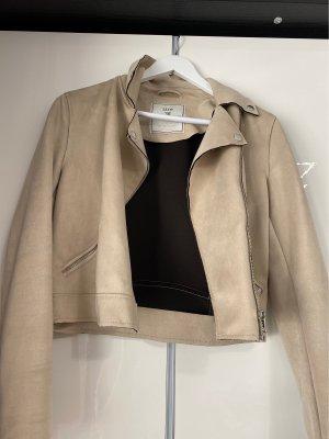 Veste en cuir synthétique beige clair