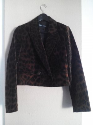 kurze Jacke in Animalprint, 82% Baumwolle, Samtoptik, Größe M