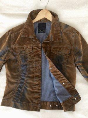 Kurze Jacke mit Jeans- und Samt-Effekten, used Look