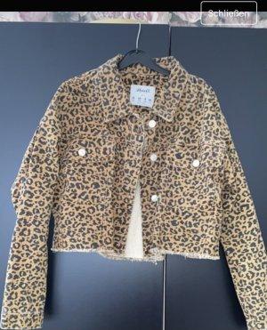Kurze Jeansjacke Leo Muster Leopard Used Look