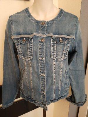 Kurze Jeansjacke mit aufgesetztem Glitzertape