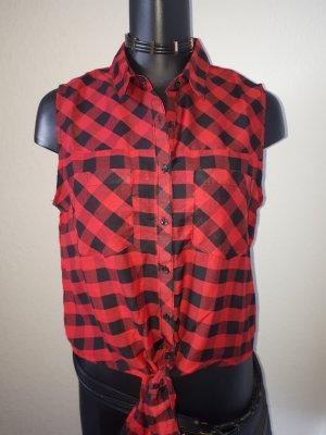 Fishbone Camicia a scacchi nero-rosso