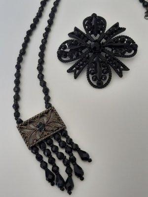 Unbekannte Marke Collar de perlas negro tejido mezclado