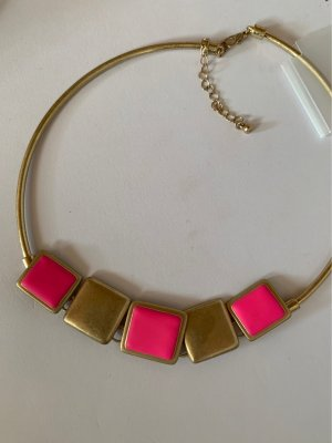 Collier incrusté de pierres doré-rose fluo