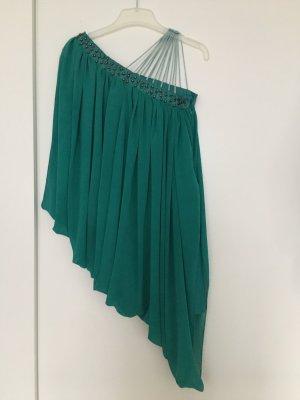 Kurze Kleid One-Shoulder, grün