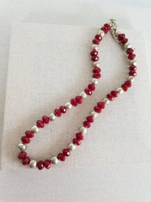 Collier de perles rouge fluo-argenté