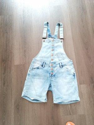 Rock Angel Denim Bib Shorts azure