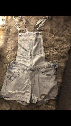 H&M Pantalón corto tipo peto azul celeste