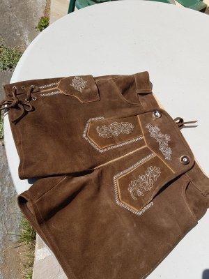 Der Wildschütz Pantalone in pelle tradizionale marrone chiaro-marrone
