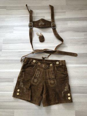 Pantalone in pelle tradizionale marrone-marrone scuro