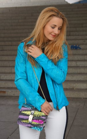 Bomboogie Leather Jacket turquoise leather