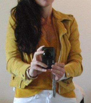 Vero Moda Leather Jacket dark yellow-yellow leather
