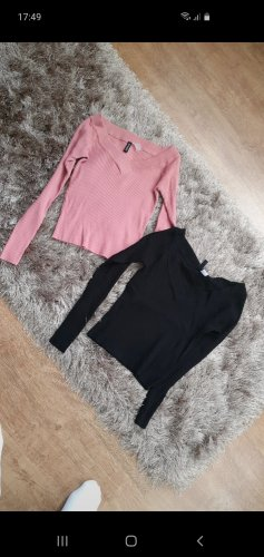 H&M Basic topje zwart-rosé