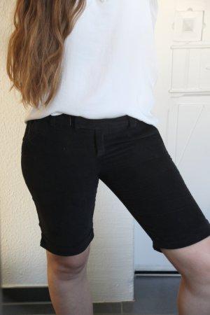 kurze Samt-Cord Hose schwarz Capri Short