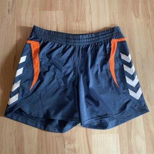 Hummel Pantalón corto deportivo gris pizarra-naranja neón