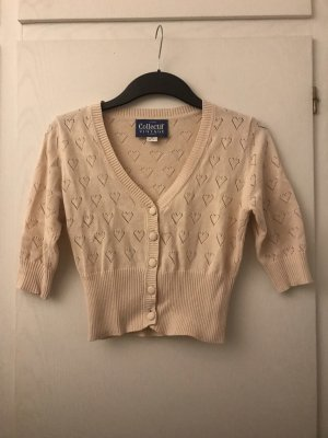 Collectif Vintage Short Sleeve Knitted Jacket cream-natural white