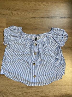 Kurze weiß-Blaue gestreifte Bluse von H&M