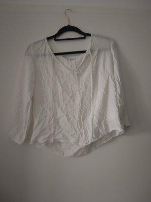 Kurze weiße Bluse mit Häkeldetails von Jacqueline de Yong, Spitze, Sommer, Boho