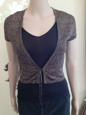 Mango Short Sleeve Knitted Jacket dark brown-brown