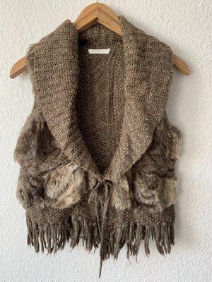 Promod Fringed Vest dark brown-light brown
