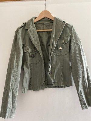 Kurzer Blazer, used look, grau grün
