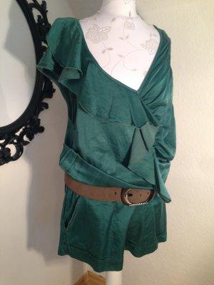 kurzer grüner Jump-Suit, von Please, mit 55 % Seide, Größe S/M