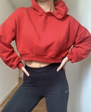 Bershka Felpa con cappuccio rosso-rosso mattone