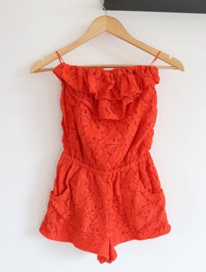 Kurzer Jumpsuit Gr. S für den Sommer Orange mit Spitze trägerlos