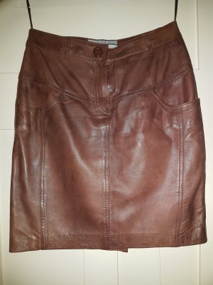 Heine Falda de cuero marrón