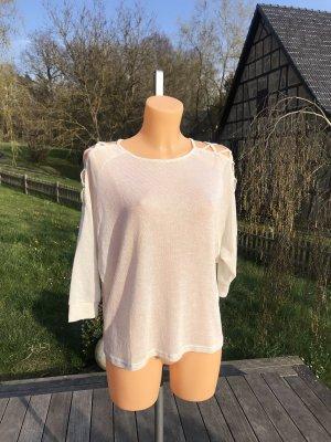 Kurzer leichter Pullover mit Goldfäden * offener Schulterbereich * Raglanärmel