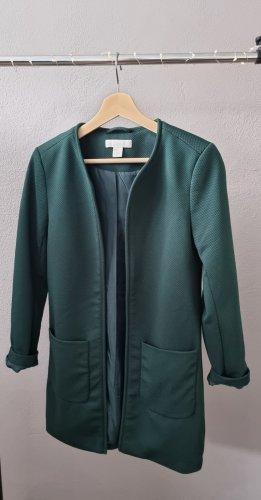 kurzer Mantel Blazer Longblazer Cardigan dunkelgrün Strukturoptik