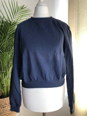 Kurzer Pullover (Crop) | Gummizug | Blau