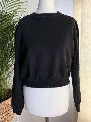 Kurzer Pullover (Crop) | Gummizug | Schwarz