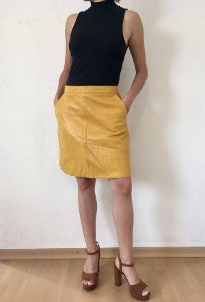 Zara Basic Faux Leather Skirt dark yellow