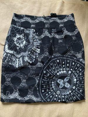 Desigual Plisowana spódnica czarny-biały