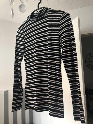 Kurzer Rollkragenpullover Schwarz Weiß