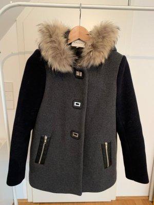 Sandro Manteau à capuche multicolore laine