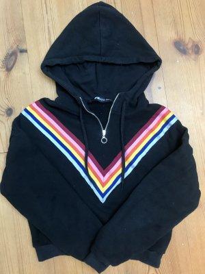 Kurzer Schwarzer Pullover mit buntem Streifen und Reißverschluss (Vintage)