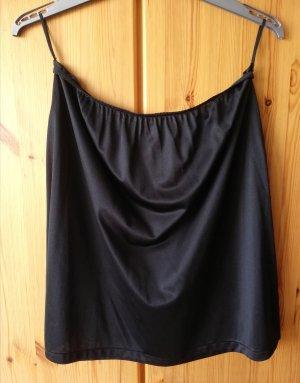 kurzer schwarzer Unterrock aus glattem Charmeuse