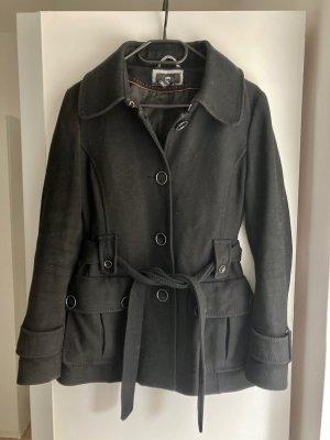 Kurzer, schwarzer Woll-Mantel mit Gürtel, Größe 34